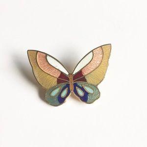 Vintage Gold Tone Enamel Butterfly Pin
